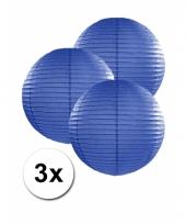 3 bolvormige lampionnen donker blauw 25 cm