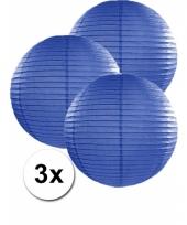 3 bolvormige lampionnen donker blauw 35 cm