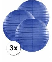3 bolvormige lampionnen donker blauw 50 cm