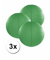 3 bolvormige lampionnen donker groen 25 cm