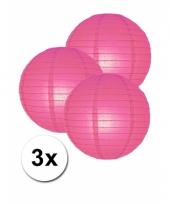 3 bolvormige lampionnen fuchsia roze 25 cm