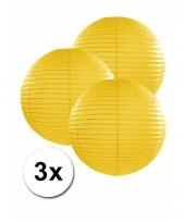 3 bolvormige lampionnen geel 25 cm
