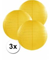 3 bolvormige lampionnen geel 35 cm