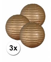 3 bolvormige lampionnen goud 25 cm