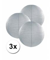 3 bolvormige lampionnen grijs 25 cm