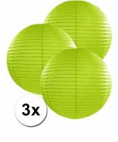 3 bolvormige lampionnen groen 35 cm