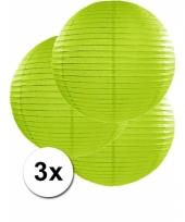3 bolvormige lampionnen groen 50 cm