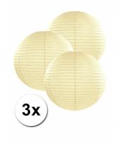 3 bolvormige lampionnen ivoor 25 cm