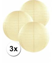 3 bolvormige lampionnen ivoor 35 cm