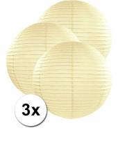 3 bolvormige lampionnen ivoor 50 cm