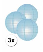 3 bolvormige lampionnen licht blauw 25 cm