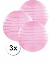3 bolvormige lampionnen licht roze 35 cm