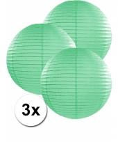 3 bolvormige lampionnen mint 35 cm