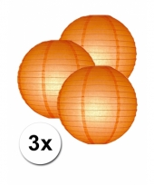 3 bolvormige lampionnen oranje 25 cm