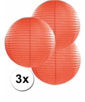 3 bolvormige lampionnen oranje 35 cm