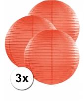 3 bolvormige lampionnen oranje 50 cm