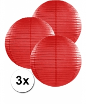 3 bolvormige lampionnen rood 35 cm