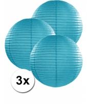 3 bolvormige lampionnen turquoise blauw 35 cm