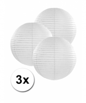 3 bolvormige lampionnen wit 25 cm