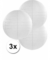 3 bolvormige lampionnen wit 35 cm