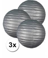 3 bolvormige lampionnen zilver 35 cm