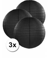 3 bolvormige lampionnen zwart 50 cm