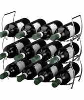 3 delig wijnrek voor 12 flessen stapelbaar