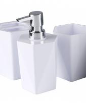 3 delige set voor op de wasbak wit 25 cm