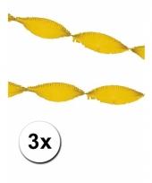 3 gele slingers van crepe papier 5 m