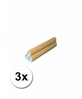 3 hobby materiaal kokers van karton 31x4 cm