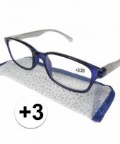 3 leesbrillen blauw met zilver