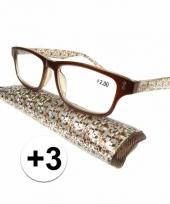 3 leesbrillen fantasy bruin