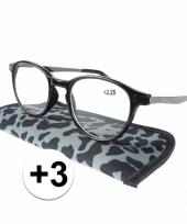 3 leesbrillen in grijze panterprint