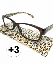 3 leesbrillen in tijgerprint