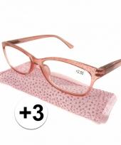 3 leesbrillen roze met glittertjes