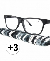 3 leesbrillen zwart met gestreept hoesje