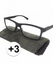 3 leesbrillen zwart met rondjes