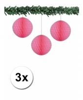3 licht roze decoratie bollen van papier 10 cm