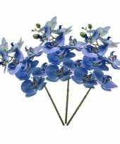 3 phaleanopsis vlinderorchidee kunstbloemen blauw 70 cm