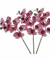 3 phaleanopsis vlinderorchidee kunstbloemen fuchsia roze 70 cm