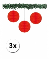 3 rode decoratie bollen van papier 10 cm