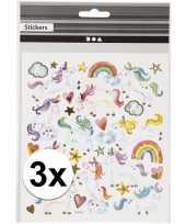 3 vellen eenhoorn thema kinder stickers