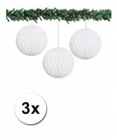 3 witte decoratie bollen van papier 10 cm