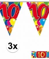 3 x leeftijd slinger 10 jaar met sticker
