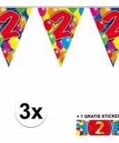 3 x leeftijd slinger 2 jaar met sticker