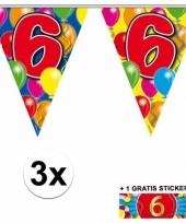 3 x leeftijd slinger 6 jaar met sticker