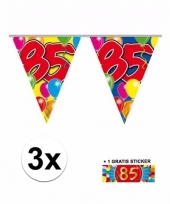 3 x leeftijd vlaggenlijnen 85 jaar met sticker
