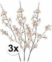3 x roze japanse kersenbloesem 105 cm kunstplant takken