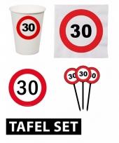 30ste verjaardag tafeldecoratie versiering pakket verkeersbord