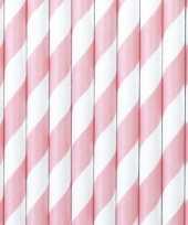 30x drinkrietjes van papier lichtroze wit gestreept